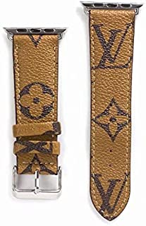 A+NYC 38 Compatible Apple Watch Straps 38mm (fit for 40mm), Luxury Fashion PU Leather Classic Wrist Bands for Women and Men, Replacement for Apple Watch Series 4 3 2 1 38/40MM (Monogram Khaki)