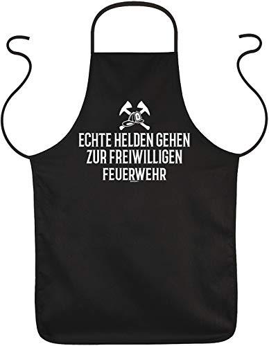 Tini - Shirts Feuerwehr Schürze - Sprüche Grillschürze Freiwillige Feuerwehr : Echte Helden gehen zur Freiwilligen Feuerwehr - Kochschürze Feuerwehr Mann/Frau