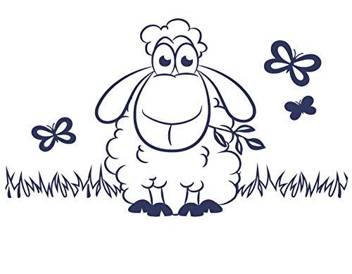 tjapalo® s-pkm 374 Wandtattoo Kinderzimmer Schaf und Schmetterlinge - in vielen Farben (B100 x H58 cm)