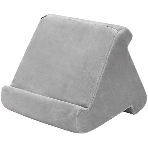 Fikujap Tablet Holder Laptop Cushion Tablet Cushion Multi-Angle Knee Stand with Soft Cushion for Ipad, Tablet, E-Book Reader, Smartphone, Books and Magazines,Gray