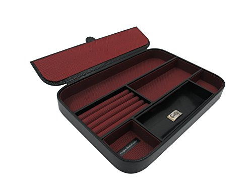 Cordays -Schmuckkästchen Deluxe in Schwarz Leder mit vielfachen Fächern. Herren Organizer CDM-00008