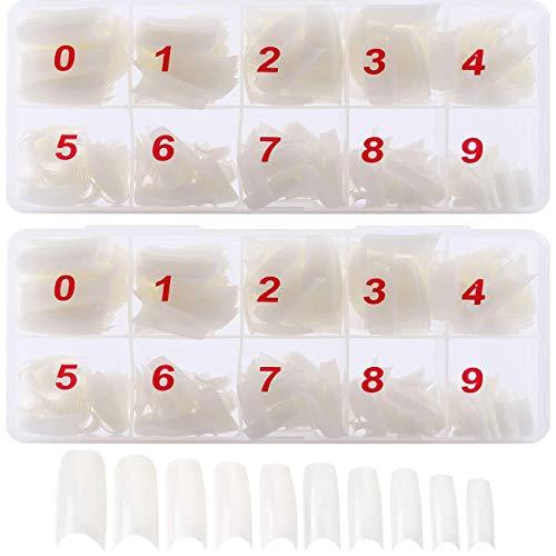 1000 Stück Französisch Acryl Künstliche Gefälschte Falsche Nägel Kunst Tipps mit Box für Damen Mädchen, Transparente & Natürliche Nägel