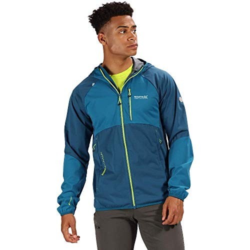 Regatta Herren Tarvos II Lightweight Wind Resistant Water Repellent Breathable Hooded Jacket Softshell, Majolika-Blau/Meerblau, XL