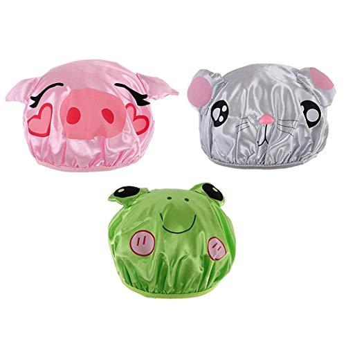 iSuperb iSuperb imperméables Bonnets De Douche Motif Animal Réutilisable Shower Caps (dessin animé)