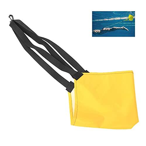 Cinturón de Entrenamiento de natación, cinturón de Entrenamiento de Fuerza hacia adelante Seguro bajo el Agua, Ejercicio Negro para Perder Peso para Nadar con Equipo(Large Yellow)