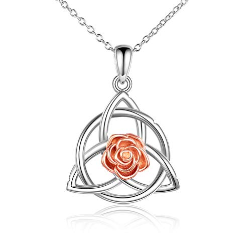 HUKKUN Roses Sunflower Necklace Sterling Silver Irish Celtic Knot You are My Sunshine Necklace Love Knot Sunflower Roses Jewelry Gifts for Women (Roses Knot)