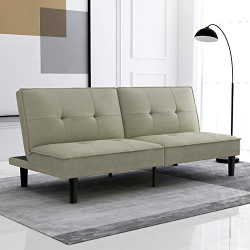 Milemont Futon Sofa Bed Convertible Folding Modern Armless Couch Daybed for Small Spaces, Dorm, Living Room, Apartment-Dark Khaki, Loveseat