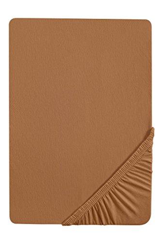 #15 biberna Jersey-Stretch Spannbettlaken, Spannbetttuch, Bettlaken, 90x190 – 100x200 cm, Camel