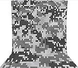 Fondo de fotografía de 2 x 3 m, efecto pixel, color gris digital, tela de tela de forro polar, con bolsillo para barra (solo telón de fondo) para cumpleaños, bodas, fiestas temáticas