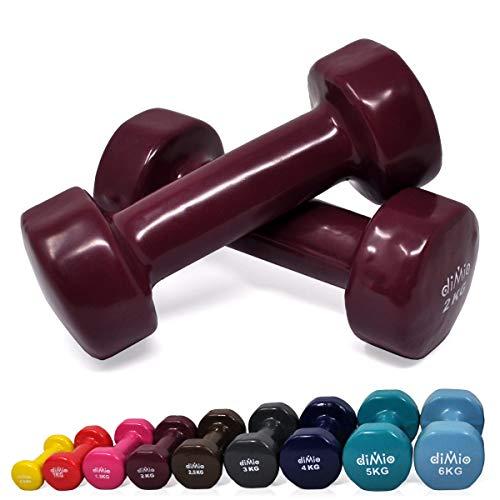 diMio - Manubri in vinile, 0,5–6kg, in confezione doppia, Soft Grip, per Fitness, allenamento resistenza e muscoli, 2x 2 kg Violett