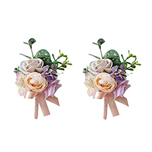USIX 2pc Pack-Handmade Artificial Flower Peony Rose Wrist Corsage & Men's Lapel Boutonniere Pin Combo Set Package for Wedding Party Prom Homecoming