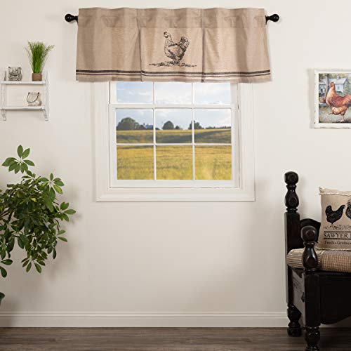 VHC Brands Sawyer Mill Curtain, Valance 20x60, Charcoal Grey