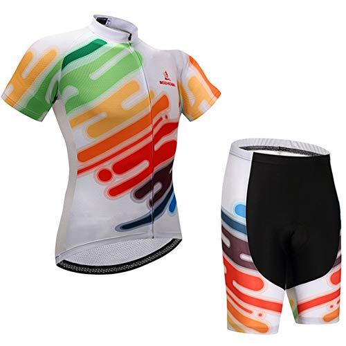 Verano Hombre Camiseta de Ciclismo Manga Corta Color Graffiti, Anti-UV Outdoor Racing Road Bike MTB Conjunto Ropa Bicicleta Transpirable, Camiseta Ciclismo con Pechera Acolchada Gel Combo