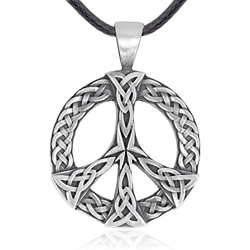 Namaste Jewelers Irish Celtic Knot Peace Sign Pendant Necklace Pewter Jewelry