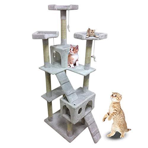 Albero Tiragraffi Tiragraffi 180 Cm Di Altezza Big Cat Tree Tower Condo Furniture Scratch Post Cat Jumping Albero Rampicante Con Scala Per Gattini Pet House Play-Milky_White_55Cm_X_55Cm_X_180Cm