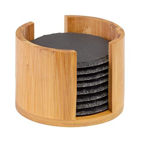Westmark 8 Sottobicchieri in ardesia naturale con scatola in bambù, Rotondo, Con gommini, ø 10 cm, Ardesia/Bambù, Tapas + Friends, Antracite/Marrone chiaro, 69212260