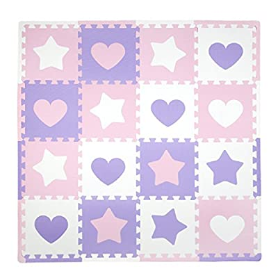 Tadpoles Baby Play Mat, Kid's Puzzle Exercise Play Mat – Soft EVA Foam Interlocking Floor Tiles, Cushioned Children's Play Mat, 16pc, Hearts and Stars, Pink/Purple/White, 50x50