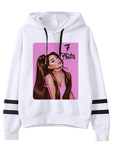 KIACIYA Trend Singer Ariana Grande Felpa con Cappuccio per Donna,Ariana Grande 7 Rings Felpa Hoodie Pullover Abbigliamento Sportivo Tinta Unita Manica Lunga per Ragazza Donna (25,S)