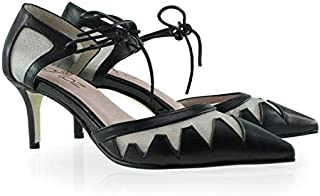 Gripz Pointed Toe lace up Kitten Heels with mesh and Leather Cut Out S1605Becca
