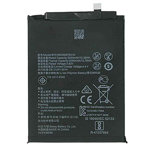 Ellenne Batteria Compatibile con Huawei HB356687ECW per P30 Lite, Mate 10 Lite, Mate 9 Lite Alta capacità 3340MAH con Kit SMONTAGGIO Incluso