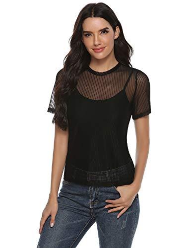 Abollria Damen Sexy Party T-Shirt Durchsichtige Oberteile Transparent Shirt Leicht Tüll Blusen Rundhals Mesh Top Kurze Ärmel Blusen Tuniken