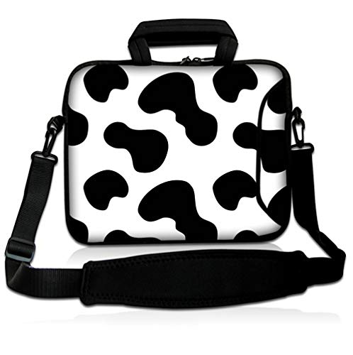 """15""""-15.6' inch Shoulder Laptop Sleeve Case Bag Pouch Protective Skin Cover With Handle by Funky Planet Bag Cases (Cow)"""
