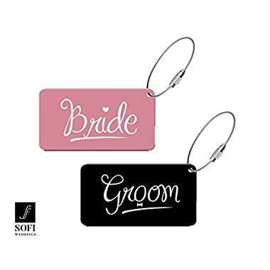 Elegant Bride Groom Metal Luggage Tags for Wedding Gift & Bridal Shower Gifts