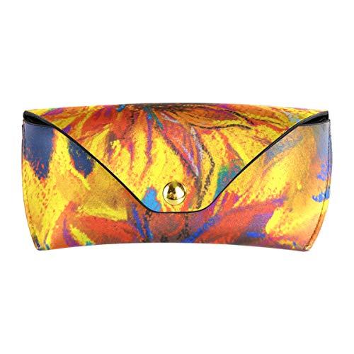 XiangHeFu Estuche de gafas de sol Girasol amarillo Pintura de arte Gafas Estuche Portátil PU Gafas de cuero Bolsa presente multiuso