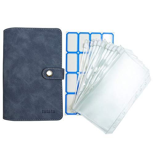 A6 Clear Binder Pockets with PU Leather Notebook Binder Cover Waterproof Loose Leaf Bags Cash Budget Envelopes System A6 6-Ring Notebook Binder Pockets - Denim Blue