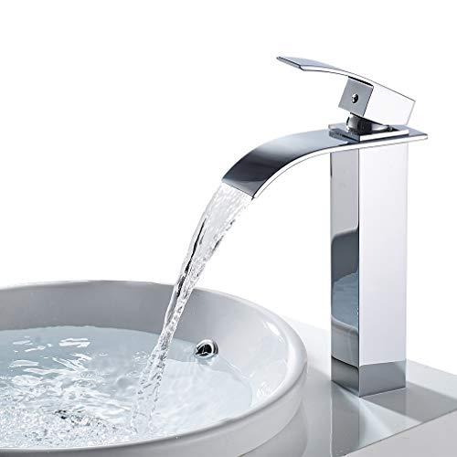WOOHSE Hoch Wasserfall Wasserhahn Bad, Waschtischarmatur Mischbatterie Waschtisch Armatur für Waschbecken, Chrom Klassischen Design