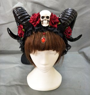 Changlesu Horn Stirnband Gothic Devil Floral Horns Kopfschmuck Halloween Schädel Zubehör mit Schleier Fancy Dress Haarschmuck (Stil A)
