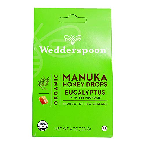 Wedderspoon Organic Manuka Honey Drops, Eucalyptus + Bee Propolis, Unpasteurized, Genuine New Zealand Honey, Perfect Remedy For Dry Throats, 4.0 Ounce -  Firemall LLC, 1793256