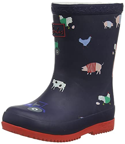 Joules Baby Welly Print Rain Boot, Navy Animal, 4 UK Child