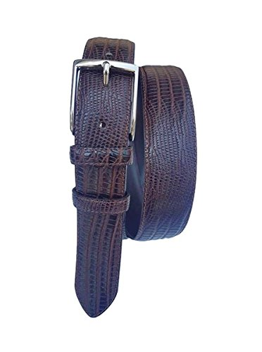 ESPERANTO Cintura 35 Millimetri in Vitello Stampato Lucertola, Fodera in Pelle Bovina (TAGLIA 50-115 CM -GIROVITA 100 CM, moro)