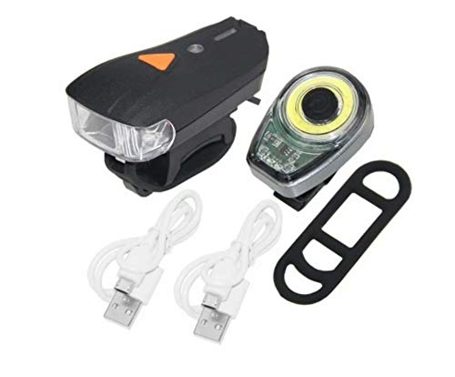 Big Bargain Store Kit d'éclairage de vélo Phares à LED Super Lumineux Rechargeables USB 4 lumières de vélo à Mode d'éclairage réglable adapté à Tous Les vélos, Routes et Montagnes Style 2