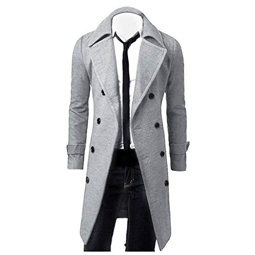 waotier Abrigo Lana Hombre Cazadoras Hombre Invierno Hombres Slim Elegante Moda Hombre 2019 Gabardina Chaqueta Larga Cruzada Parka Cortavientos