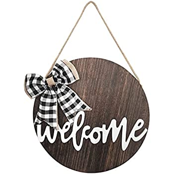 TIMECOSY Welcome Wreaths Front Door,Welcome Sign for Farmhouse, Rustic Wooden Door Hangers Front Porch Decor Outdoor Hanging Vertical Sign (Brown)