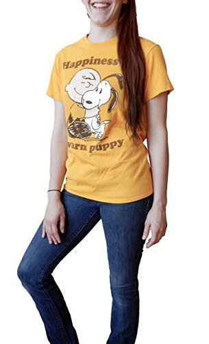 Peanuts Charlie Brown Snoopy Happiness is a Warm Puppy Adult Gold T-Shirt L