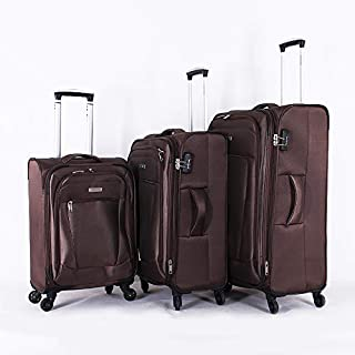 Travelite Soft Case Luggage - 4 Wheel with 3 Pieces - 97570 - Coffee color