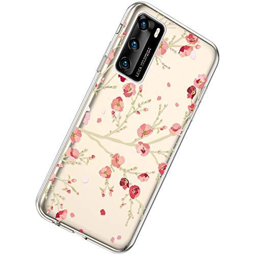 Herbests Kompatibel mit Huawei P40 Hülle Silikon Weich TPU Handyhülle Durchsichtige Schutzhülle Niedlich Muster Transparent Ultradünn Kristall Klar Handyhülle,Kirschblüten