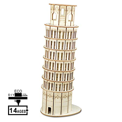 ZUOQUAN 3D Puzzle, Leaning Tower of Pisa, Wooden Model Kits Assembly, DIY Building Model Kits Gift And Souvenir for Adults And Kids, 105 Pieces