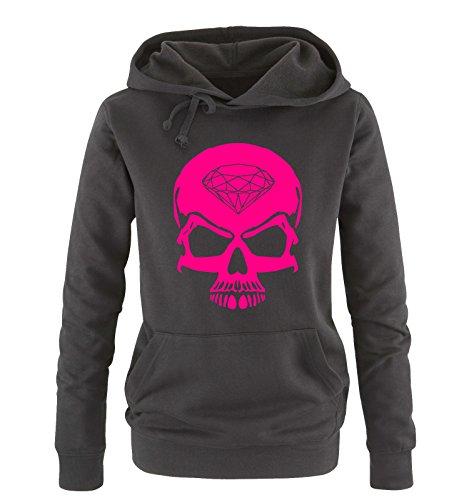 Comedy Shirts - Skull Diamond - Damen Hoodie - Schwarz/Pink Gr. XL