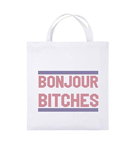 Comedy Bags - Bonjour Bitches - Jutebeutel - Kurze Henkel - 38x42cm - Farbe: Weiss/Rosa-Violet