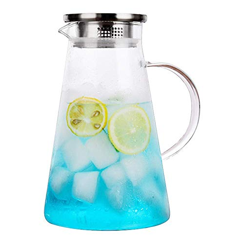 1.8 L/Liter Glass Kettle, Carafe with Lid, Water Jug for Hot and Cold Water, Large Capacity Cold Water Bottle Anti-Side Leakage with lid (Single Pot, No Cup)