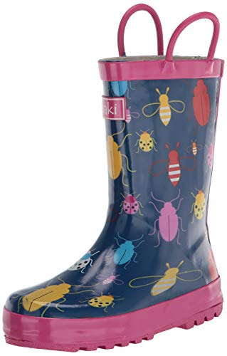 OAKI Oakiwear Kids Rubber Rain Boots with Handles, Bees & Ladybugs, 12 Little Kid