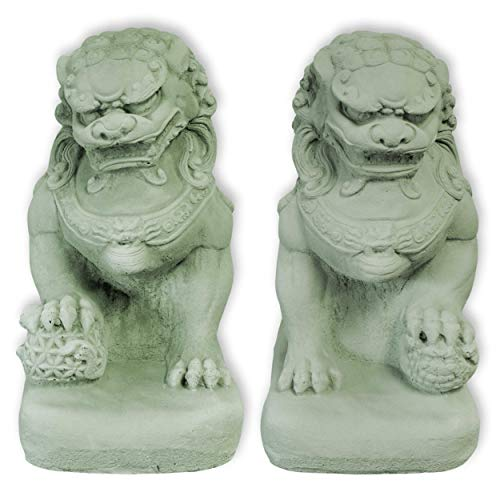 Wilai Fu-Hund Set männlich + weiblich grün STEINGUSS frostfest Wächterfigur Tempelwächter wachender Löwe FOO Dog 32 cm hoch