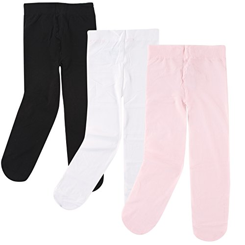 Luvable Friends Baby Girls' Nylon Tights, 3 Pack, Pink/White/Black, 2T-4T