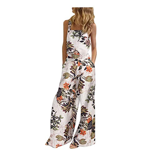 IHGWE Mono para mujer, sin mangas, informal, para verano, tallas grandes, elegante, sin mangas Blanco S