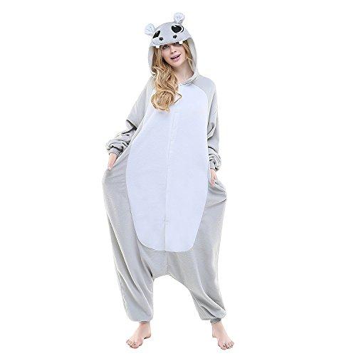 Venaster Pyjamas Cosplay Grau Nilpferd Flusspferd Erwachsene Unisex Animal Pajamas Anime Schlafanzug Jumpsuits Spielanzug Kostüme