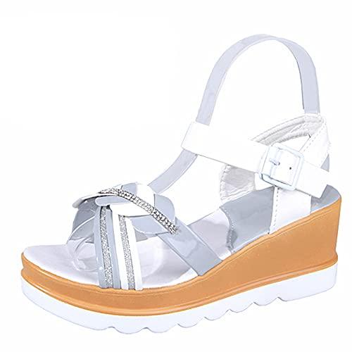 Mujer Cuñas Sandalia Casual Vintage Playa Sparkle Lentejuelas Hebilla Ajustable Tobillo Strappy Plataforma Zapato Gris, Gray, 38.5 EU